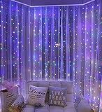 Lichtervorhang 3x3m , 300 LEDs USB Lichterkettenvorhang mit 8 Modi Fernbedien Wasserfest für Schlafzimmer Hochzeit Party Weihnachten Innen und Außen Deko (Color)