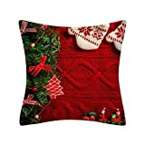 LILIGOD Weihnachten Kissenbezug Glitter Polyester Sofa Dekokissen Cover Home Decor Rotes Weihnachten Kissenhülle aus Pfirsichkaschmir Quadratischer Kissenbezüge