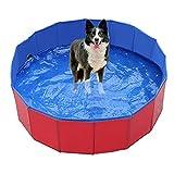 Hundepool für Kleine Hund Katze mit Ablassventil, 50*8cm Faltbare Schwimmbecken für Kinder und Haustier, PVC rutschfest Planschbecken Schwimmbad für Garten