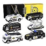 XDDIAS Polizeiwagen Spielzeug Set, 6 Pcs Mini Legierung Polizeiauto Modelle, Polizei Auto Toys Fahrzeuge für Kinder Jungen ab 3 Jahren