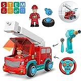 Ttdbd Fahrzeugbauspielzeug, Bauen Sie Ihr eigenes ferngesteuertes Auto-Spielzeug-Feuerwehrauto, STEM-Feuerwehrauto-Set mit Lichtern und Geräuschen, Lernspielzeug