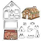 Ausstechformen Set – Ausstechformen Mini geometrische Formen Keksausstecher Gemüse Form Ausstechformen für Küche, Backen, Halloween und Weihnachten 3D-Weihnachtshaus