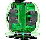 Kreuzlinienlaser 30M, Laserniveaus Careslong 3 * 360 grüner Laserpegel selbstausgleichende, grüner Strahl 3D 12 Linien, IP 54 Vertikale und Horizontale Linie (2pcs 8000mAh Batterie)