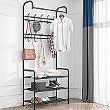 LENTIA Garderobenständer multifunktionale Flurgarderobe stabil Kleiderständer Garderobe 3 Ablagefächer Kleiderstange mit Sitzfläche für Flur 8 Kleiderhaken schwarz
