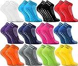 Rainbow Socks - Damen Herren Quarter Sport Socken ABS - 12 Paar - Mehrfarbig - Größen EU 44-46