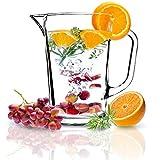KADAX Krug, Glaskanne, Glaskrug aus robustem Glas, Wasserkrug mit Auslauf und handlichem Griff, Glaskaraffe für kalte Getränke, Saft, Eistee, Milch, transparent (Luca, 1.23L)