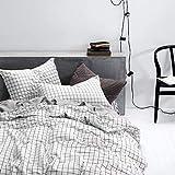 Nyescasa Baumwolle Bettwäsche 135x200 2 Teilig Schwarz Weiß Kariert Bettbezug Landhaus Karo Muster Deckenbezug Damen mit Kissenbezüge 80x80 cm