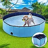 Winipet Hundepool Schwimmbad für Hunde, Hundeplanschbecken Hundebad, Klappbares Haustier-Duschbecken mit Umweltfreundlichem PVC rutschfest