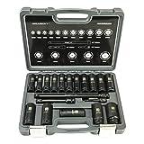Schlagschrauber Nüsse Set 10-27mm 1/2' 19 tlg. ✔ 2x Verlängerung ✔ 1/4 Adapter ✔ HASKYY®