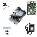 Breeezie Raspberry DIY Kit für Pi 4B 2G RAM mit Aluminium CNC-Legierung Schutzhülle Lüfter 5V 3A Power