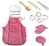 LINKLANK Backwerkzeug-Set für Kinder, Schürze zum Spielen, Koch, Kleid, Anzug für Kinder ab 4 Jahren, Weihnachten, Party, DIY, handgefertigte Kuchendekoration