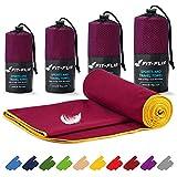 Fit-Flip Mikrofaser Handtuch Set – 16 Farben, viele Größen – Ultra leicht & kompakt – das perfekte Sporthandtuch, Strandhandtuch und Reisehandtuch (70x140cm, Weinrot - Gelb)
