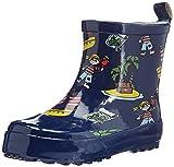 Playshoes Kinder Kurzer, Alloverdruck Halbschaft-Gummistiefel aus Naturkautschuk, Trendige Unisex Regenstiefel mit Reflektoren, mit Piraten-Muster, Blau (Marine), 24 EU