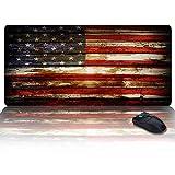 Großes Gaming-Mauspad mit rutschfestem Multifunktions-Schreibtischpad auf PVC-Basis, Druck mit amerikanischer Flagge auf Holzplatte Bequeme und faltbare Matte für Büro und Zuhause