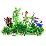 Aquarium Wasserpflanzen, PietyPet 16 Stück Klein Kunststoff Pflanzen Aquarium Aquariumpflanze Fisch Tank Dekoration