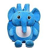 Rucksack für Krippe, Plüsch, Motiv Elefant, Mini-Backpack, niedlich, Kindergarten, Schulranzen, Schulranzen, Reise, Spielzeug, Puppe für Mädchen/Jungen, 1 – 4 Jahre, blau (Blau) - BURSAC-84