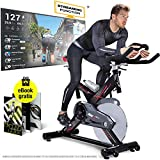Sportstech Profi Indoor Cycle SX400 –Deutsche Qualitätsmarke-mit Video Events & Multiplayer APP, 22KG Schwungrad, Pulsgurt kompatibel-Speedbike mit leisem Riemenantrieb-Ergometer bis 150Kg inkl. eBook