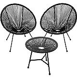 TecTake 800730 2er Set Acapulco Garten Stuhl mit Tisch, Lounge Sessel im Retro Design, Indoor und Outdoor, pflegeleicht, Relaxsessel zum gemütlichen Sitzen - Diverse Farben - (Schwarz | Nr. 403307)