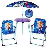 alles-meine.de GmbH 4 TLG. Set: Sitzgruppe - Tisch + 2 Kinderstühle + Sonnenschirm / höhenverstellbar -  Disney Frozen - die Eiskönigin  - inkl. Name - für Kinder - Campingstuh..
