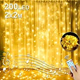 Molbory LED USB Lichtervorhang 2m x 2m, 200 LEDs Lichterketten Vorhang IP44 Wasserdicht mit 8 Lichtmodelle für Partydekoration deko schlafzimmer, Innenbeleuchtung, Warmweiß