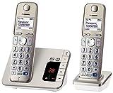 Panasonic KX-TGE222GN Großtastentelefon, hörgerätekompatibel, praktisches Seniorentelefon, schnurlos, champagner