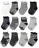 Dicry Baby Jungen Mädchen Rutschfeste Socken Kleinkind Anti Rutsch ABS Socken 12 Paare,5-7 Jahre