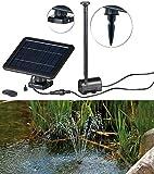 Royal Gardineer Solarpumpe: Teich- und Springbrunnen-Pumpe mit 2-Watt-Solarpanel und Akkubetrieb (Springbrunnenpumpe Solar)