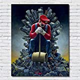 XWArtpic Kreative Cartoon Super Mario Meditation Hammer Spielmaschine Poster Wand Kunstdruck Bild Home Decor Kinderzimmer leinwand malerei 70 * 128cm E
