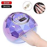 Lampelc Gel-UV-LED-Nagellampe, 86 W, schneller Nageltrockner, UV-LED-Lichthärtungslampe für Gel-Nagellack mit 4 Timer-Einstellungen und automatischem Sensor für Finger- und Fußnägel, mit 1 Box Nagelglitzer violett