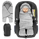Zamboo Baby Einschlagdecke mit Füßen - Winter - gefütterte Decke für Babyschalen/Autositze (passend für Maxi-Cosi, Cybex, Römer) und Kinderwagen, mit Kapuze und Tasche - Grau