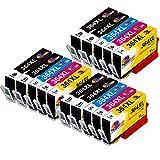 CLORISUN 364XL Druckerpatronen Kompatibel für HP 364 364 XL Patronen für HP Deskjet 3070A 3520 HP Photosmart 5520 5510 5515 5524 6510 6520 7510 7520 B010a HP Officejet 4622 4620 (15-er Pack)