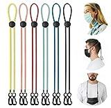LANNYS elastische Maskenkette, einstellbarer Maskenhalter, Maskenband für Mundschutz/OP Einwegmasken / FFP2 Maske, Maskenverlängerung, Maskenhalterung Hinterkopf, Nackenhalter (6er Set, bunt)