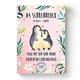 Mr. & Mrs. Panda Papierblock, Schulblock, A4 Schreibblock Pinguin Liebe mit Spruch - Farbe Weiß