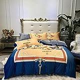 Flanell BettwäSche 135x200,EuropäIsche Gerichtshof Wadbruck-Verwendungen, Doppel Velvet Dicker Warmes Warmes Luxus-Zimmer-Bettdecke Kinderbett Einzelner Kissenbezug-P_1,8m Bett (4 StüCke)