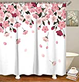 LIVILAN Stoff-Duschvorhang-Set mit 12 Haken, rosa Blumen, Badezimmer-Zubehör, maschinenwaschbar, 183 x 183 cm