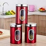 INGHU Vorratsglas 3pcs Edelstahl Zucker Küche Container Getreide Lebensmittel mit Deckel sy Clean Sealed Dosen Transparente Behälter Tee Kaffee Kekse(Rot)