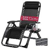 Caiyi Zero Gravity Loungesessel für schwere Personen, breite Armlehne, verstellbare Liege mit Getränkehalter, Stützung ca. 40 kg, Schwarz