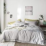 Generic Seidig weiches Frühlings- und Sommerbettwäscheset, Bettbezüge und Kissenbezüge, geeignet für Erwachsene, Kinderzimmer mit einem Doppel-Kingsize-Bett-Grau_220 x 240 cm