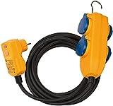 Brennenstuhl Schutzadapterkabel FI IP54 mit Powerblock (4-fach Verlängerung für außen IP54, 10m Kabel, mit Personenschutzschalter)