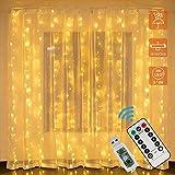 LED Lichtervorhang, Zorara 200 LEDs 2Mx2M USB Lichterkettenvorhang mit 8 Modi Fernbedien IP65 Wasserfest LED Lichterkette für Schlafzimmer Hochzeit Party Weihnachten Innen und außen Deko (Warmweiß)