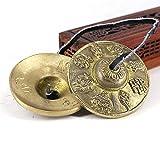 Lionina Finger Becken, Gold Exquisite Meditation Symbole des Glücks buddhistischen tibetischen geprägten Finger Becken Musikapparat