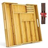 Besteckkasten Schublade aus Bambus MIXJOY Besteckkasten Holz Schubladen-Einsatz Küchen Besteck Organizer größenverstellbarer ausgezogen 6-8 Fächer mit praktischem MESSERBLOCK und 2pcs PVC Platzsets