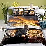 Bettwäsche 200x220 3D Druck Katze Mikrofaser Bettbezug Set 3 Teilig, 1 Bettbezüge mit Reißverschluss + 2 Kopfkissenbezug 80x80 cm