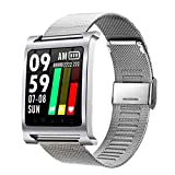 Fitness Tracker and Blood Pressure HR Monitor - Upgraded Activity Tracker Watch with Heart Rate Color Display IP68 Pedometer Calorie Counter, Silver Steel
