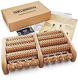 HELDSON® Premium Fußmassageroller Holz inkl. deutscher Anleitung und Karte für Fußreflexzonenmassage - Fussmassageroller Holz für Fußmassage - Fußroller gegen Plantarfasziitis und Fersensporn