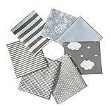 N A 7 Stück Baumwollstoff 100% Baumwolle Patchwork 46x56cm Stoff Quadrate Nähstoffe Stoffpaket mit verschiedenen Muster für DIY Nähen Deko Grau