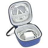 Iksnail Kopfhörer-Etui mit Karabiner, kleine Mini-Aufbewahrungstasche, Reise-Organizer für kabellose Bluetooth-Kopfhörer, Ladegerät, USB-Flash-Laufwerk, Kabel/USB-Kabel blau