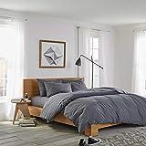 sleepwise™ Biber Bettwäsche Baumwolle | weich warm kuschelig | 135x200 cm + 80x80 cm Kissenbezug | Dunkel Grau