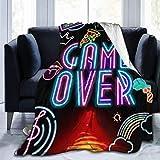 Pinakoli Flanell-Fleece-Decke mit Regenbogen-Mikrofon, Doppelbettgre, berwurf fr Couch, Bett, Wohnzimmer, extra weich, doppelseitig, 127 x 102 cm, Baumwollmischung, Schwarz, 60'x50'
