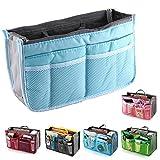 fenrad Doppel-Reißverschluss Multifunktions Handtaschenordner Handtasche Organizer Reisetasche Trading Tasche (Blau)
